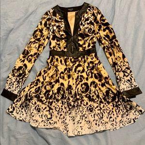 Bebe Long Sleeve Leopard Dress